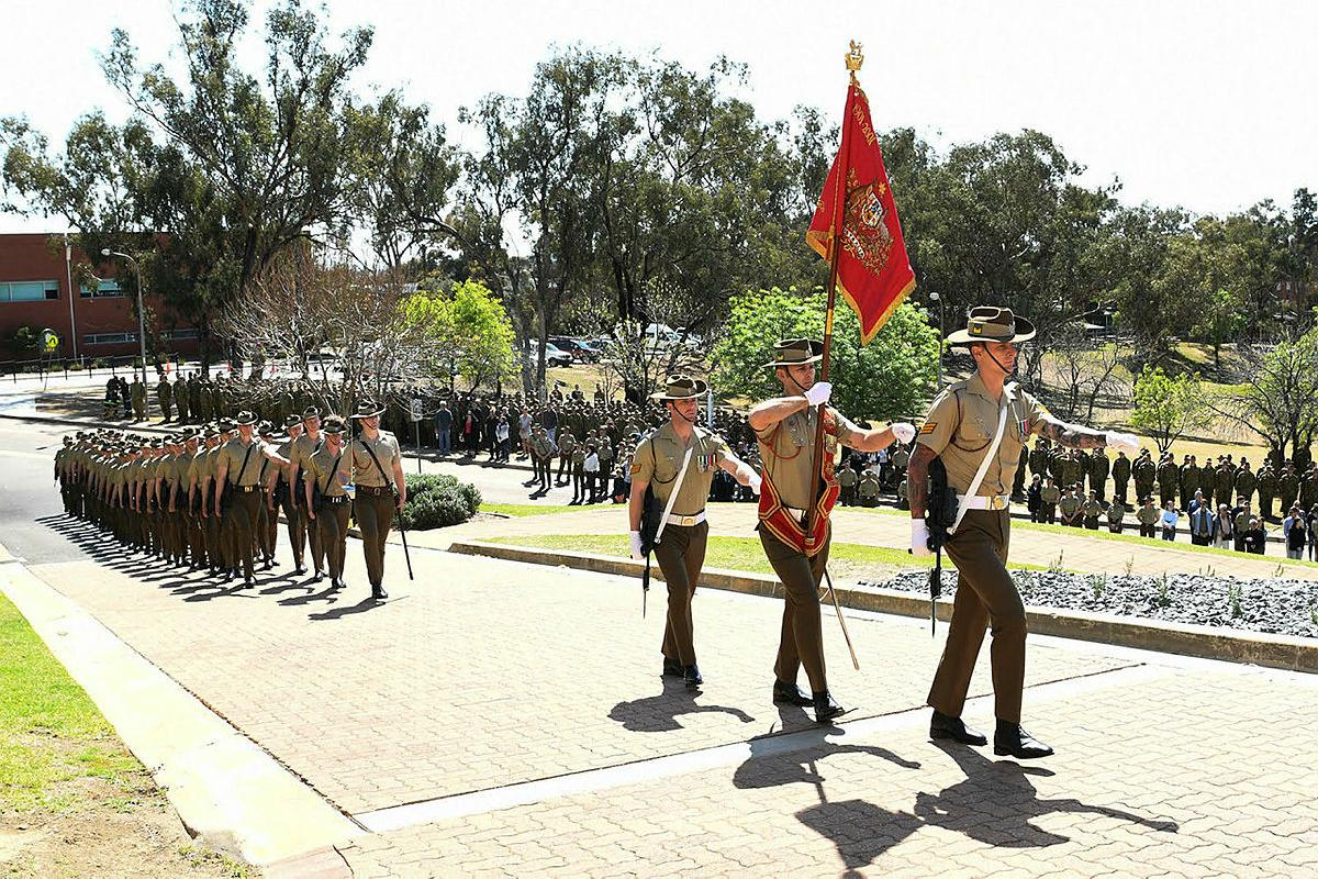 The retired Australian Army Banner is paraded for the last time at the Army Recruit Training Centre, Kapooka, New South Wales, before being laid up in the Blamey Barracks Soldiers' Chapel.