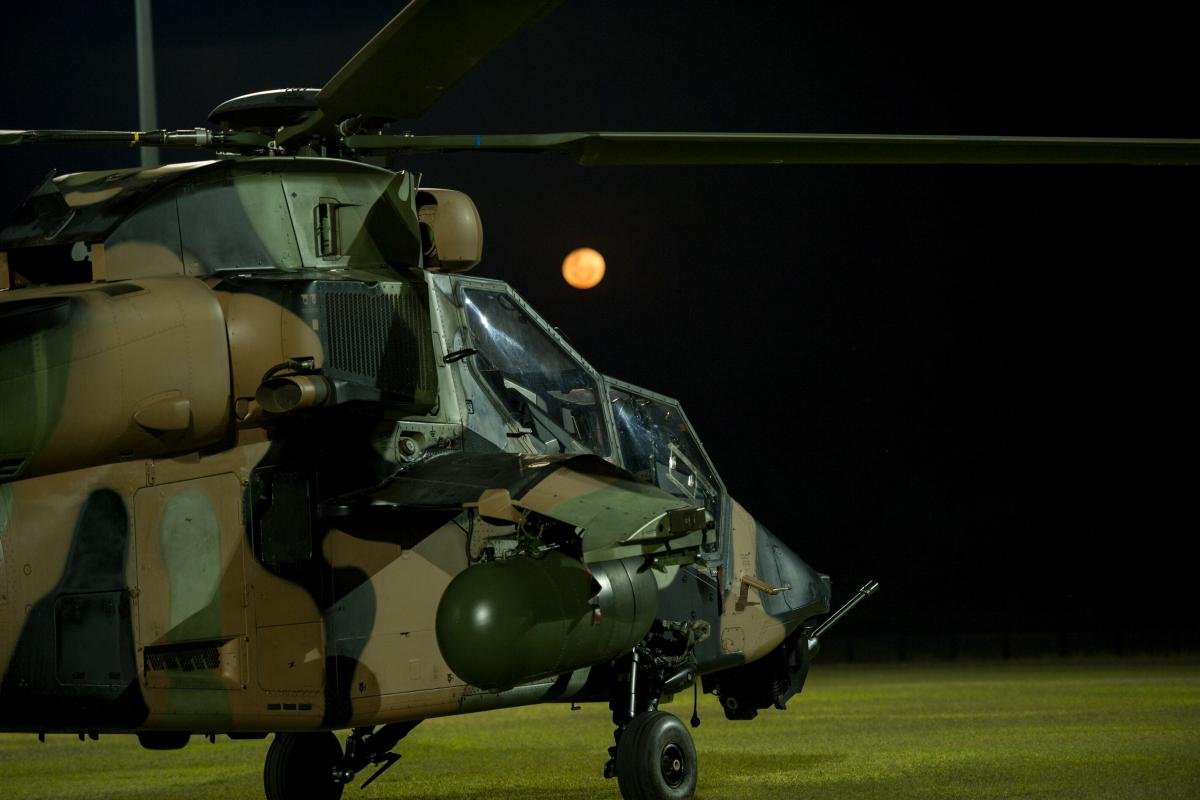 An ARH-Tiger ready for a night-time fire-mapping mission at a temporary flight operations centre near Yeppoon. Photo: Trooper Jonathan Goedhart