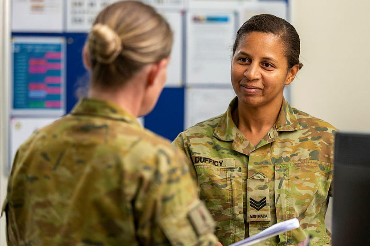 Sergeant Annie Dufficy assists personnel in the Force Support Element in the Middle East.