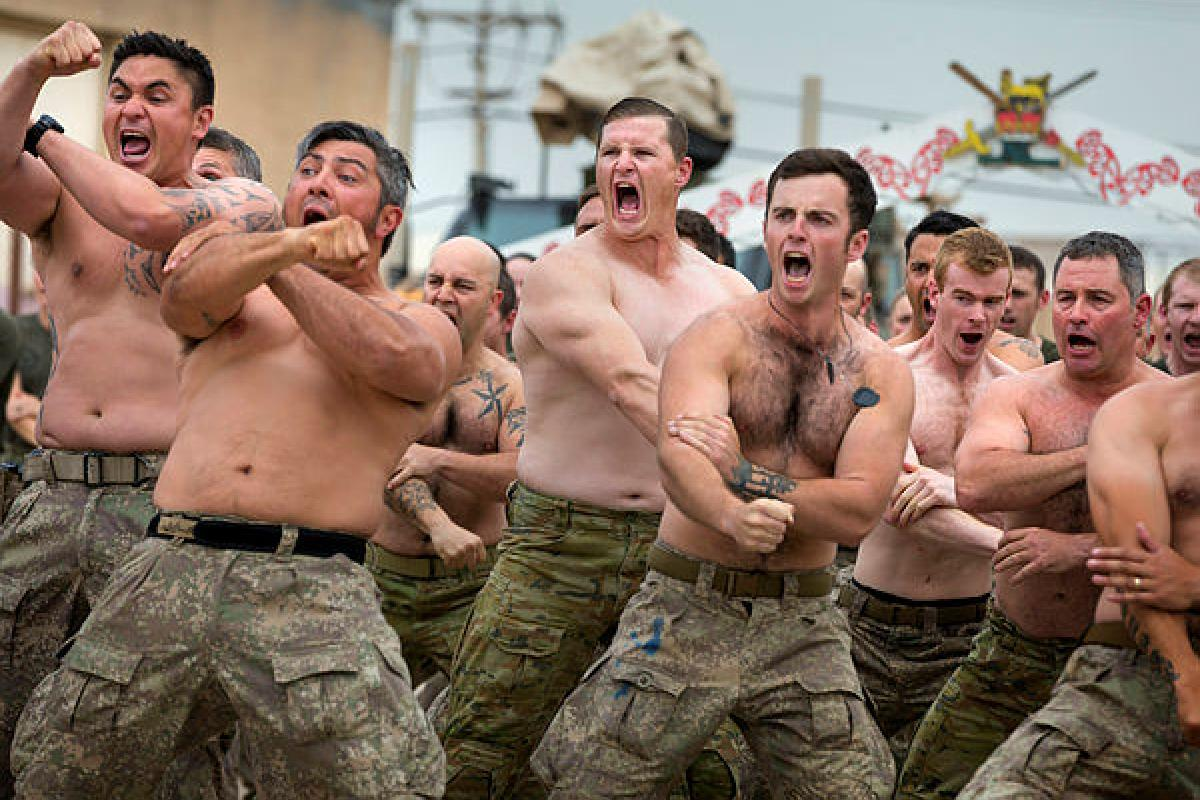 New Zealand and Australian Defence Force personnel, deployed to Task Group Taji 8, perform the haka during a welcoming ceremony for newly arrived NZDF members at the Taji Military Complex, Iraq.