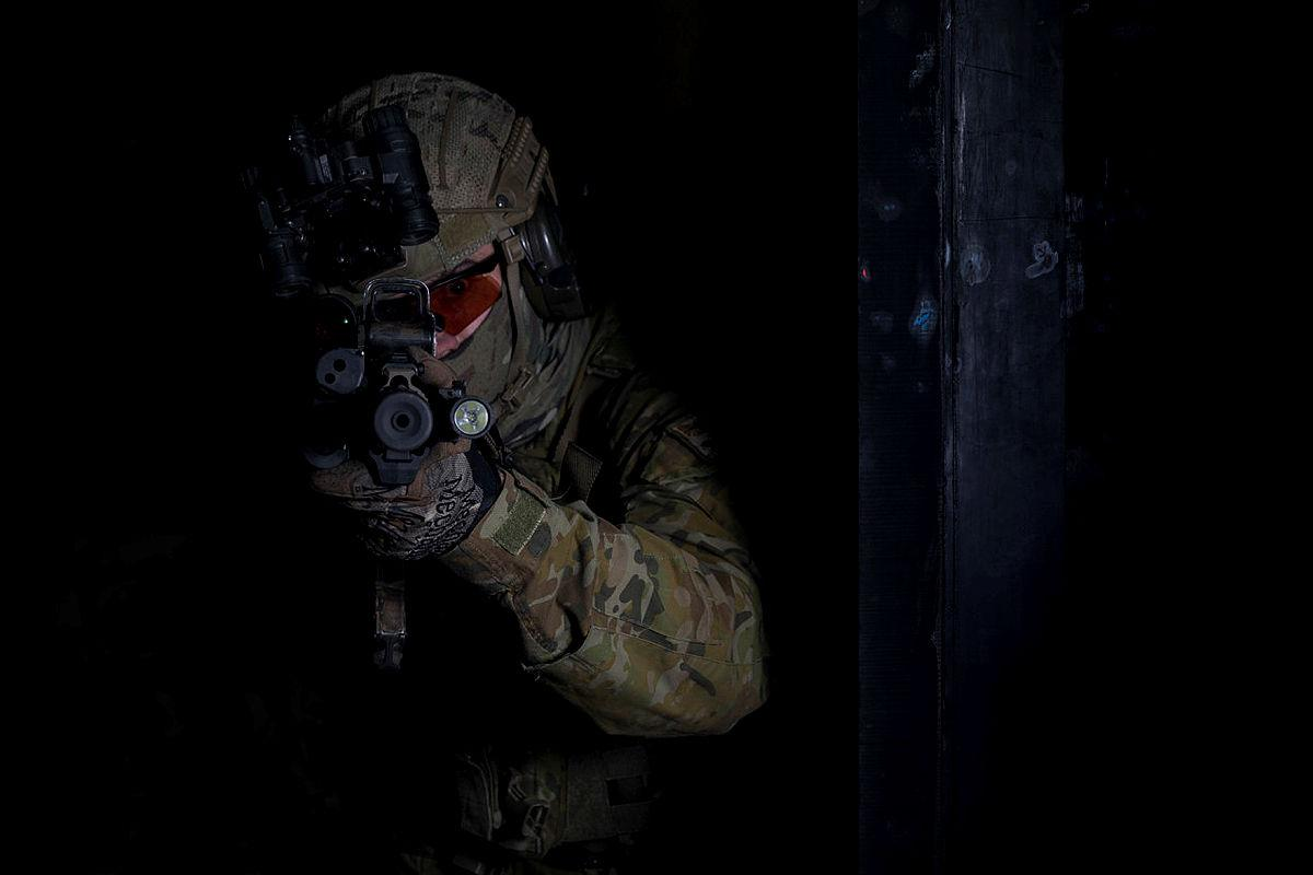 An Australian Army soldier from 2nd Commando Regiment during counterterrorism training at the Special Forces Training Facility at Holsworthy Barracks, Sydney.