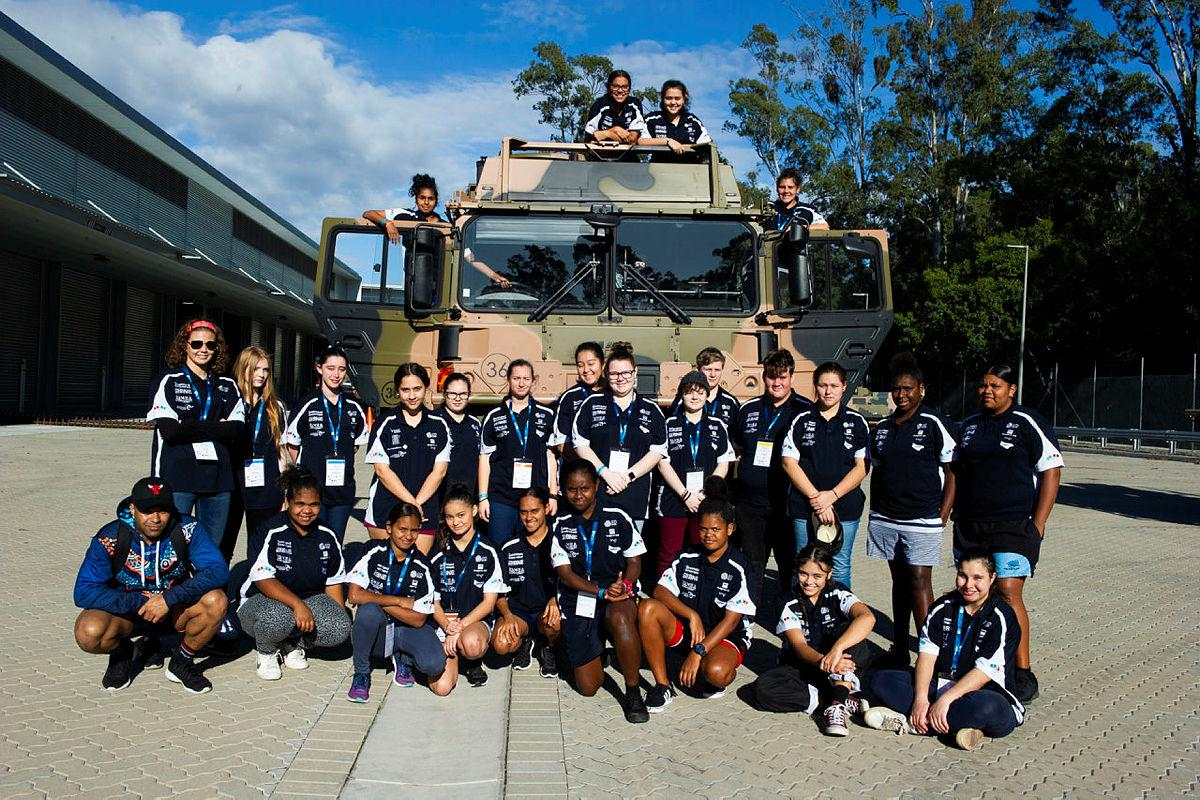 Students from the Indigenous Science and Infrastructure Development School at 7th Combat Service Support Battalion during a tour of Gallipoli Barracks.