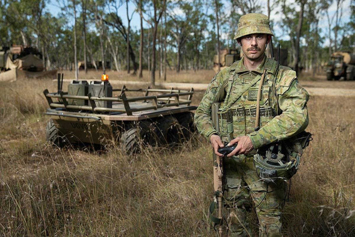 Corporal Aaron Le Jeune, from the 9th Force Support Battalion, trials an Unmanned Ground Vehicle during Exercise Talisman Sabre 2019 at Shoalwater Bay Training Area, Queensland. Photo: Corporal Tristan Kenendy