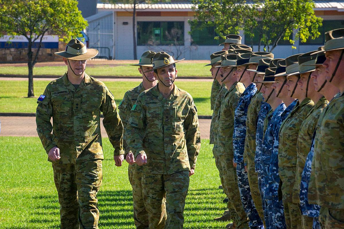 Commander 1st Division Major-General Justin Ellwood reviews soldiers, sailors, airmen, and airwomen deploying to the Middle East Region on parade at Robertson Barracks, Northern Territory. Photo: Corporal Carla Armenti