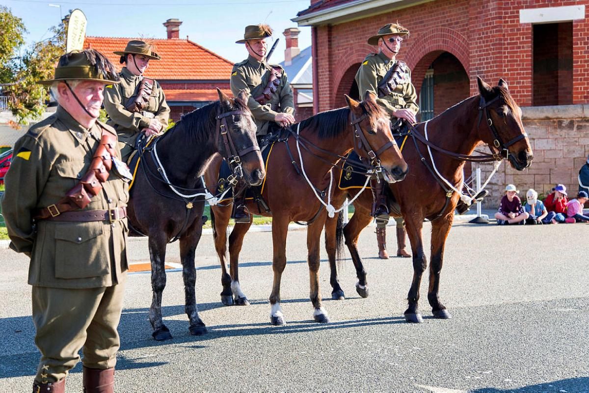 Members of the Kelmscott Pinjarra 10th Light Horse Troop during the commemoration ceremony to mark the centenary of the return to Australia of the 10th Light Horse from Egypt in 1919. Photo: Petty Officer James Whittle