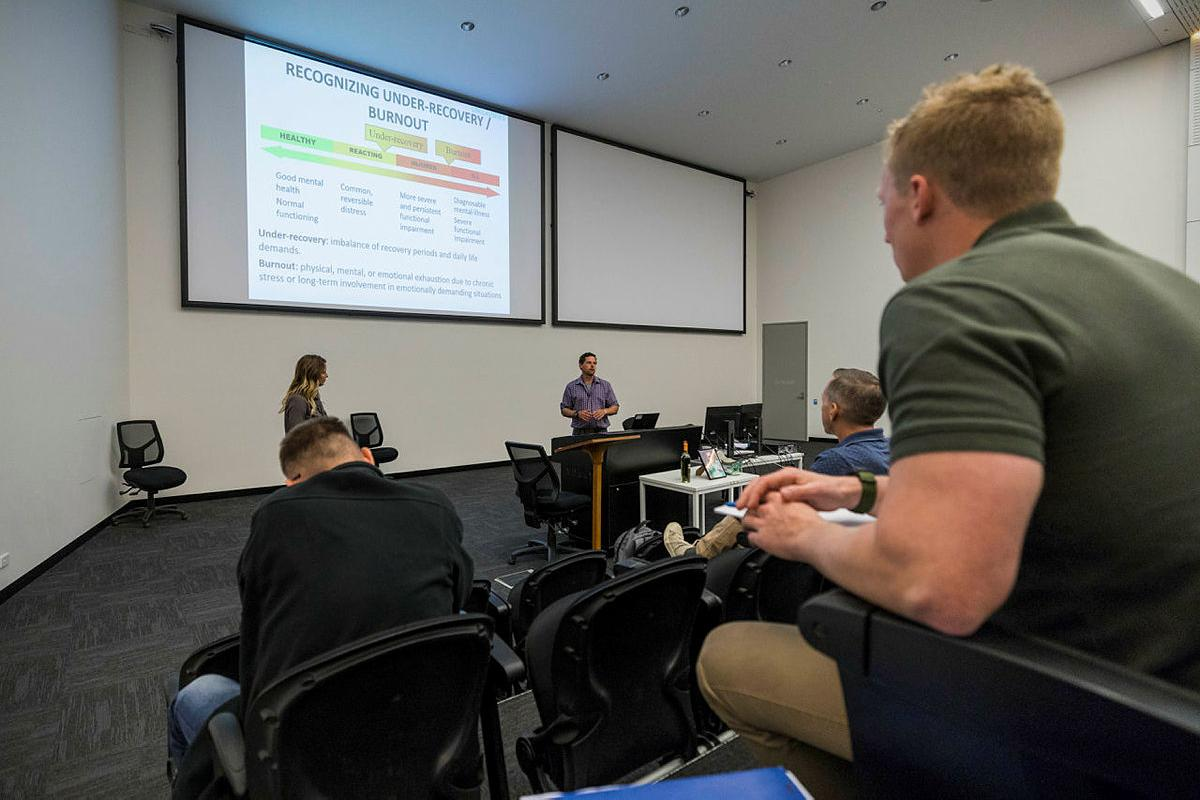 Paige Mattie, of the Canadian Special Operations Forces Command, delivers a lecture at the Special Operations Education and Training Centre at Holsworthy Barracks, Sydney. Photo: Corporal Sebastian Beurich