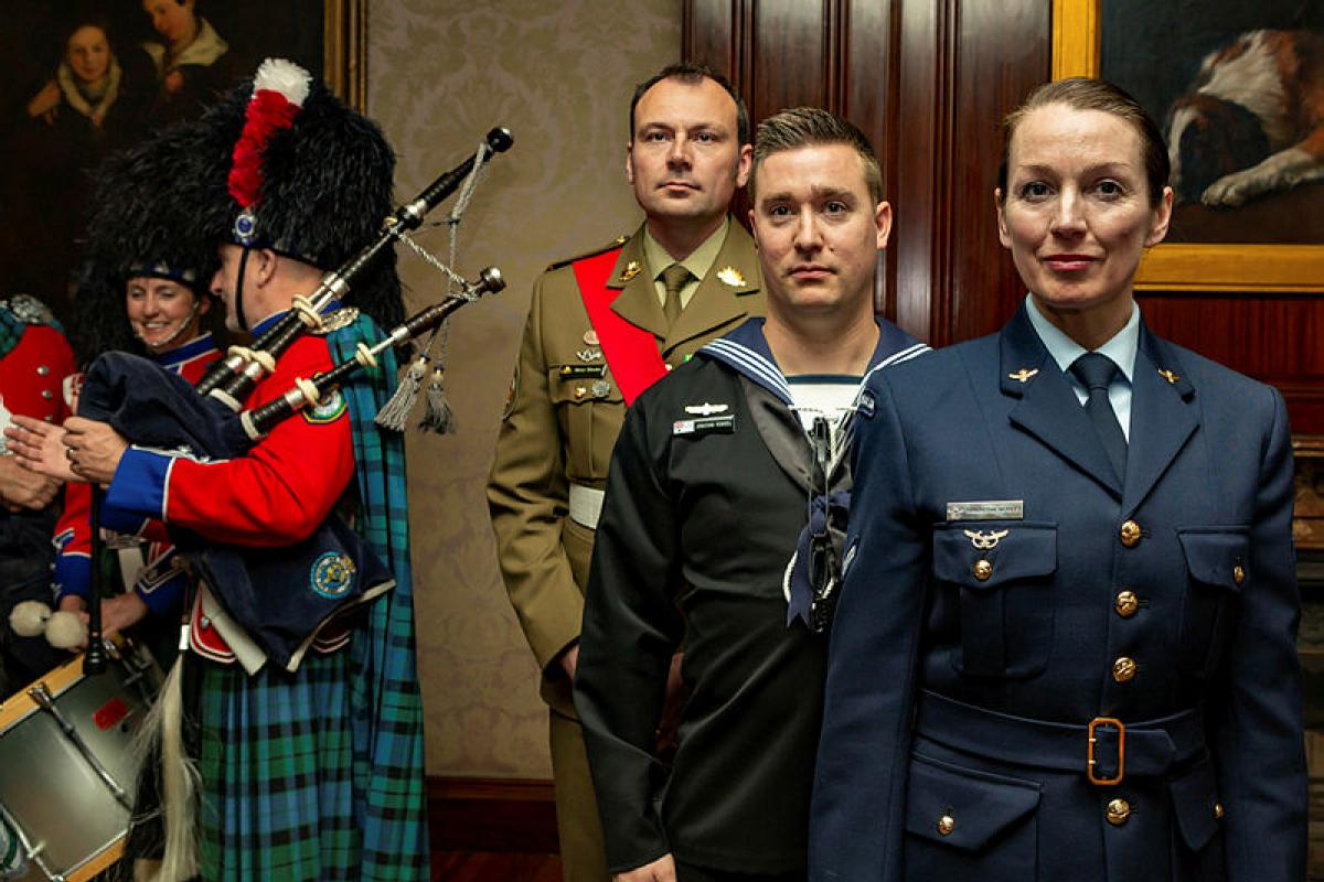 Warrant Officer Class 2 Matthew Rhodes, Leading Seaman Jonathan Rendell and Leading Aircraftwoman Samantha Morley with fellow performers to promote the forthcoming Royal Edinburgh. Photo: Able Seaman Benjamin Ricketts