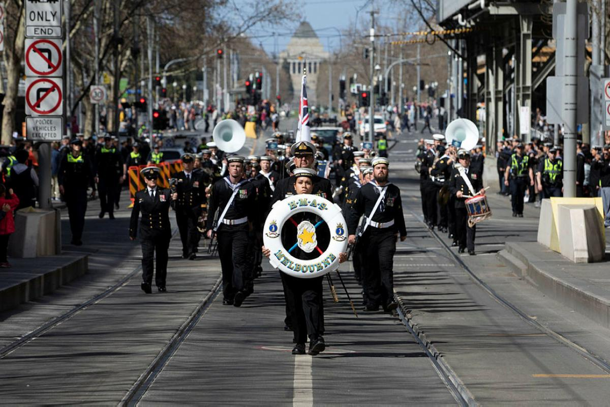 The crew of HMAS Melbourne conduct a Freedom of Entry march into the city of Melbourne. Photo: Leading Seaman Kieran Dempsey