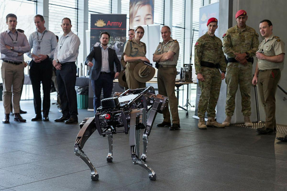 Attendees of Army Innovation Day 2019 observe advanced robotics at the Australian Defence Force Academy, Canberra. Photo: Corporal Julia Whitwell