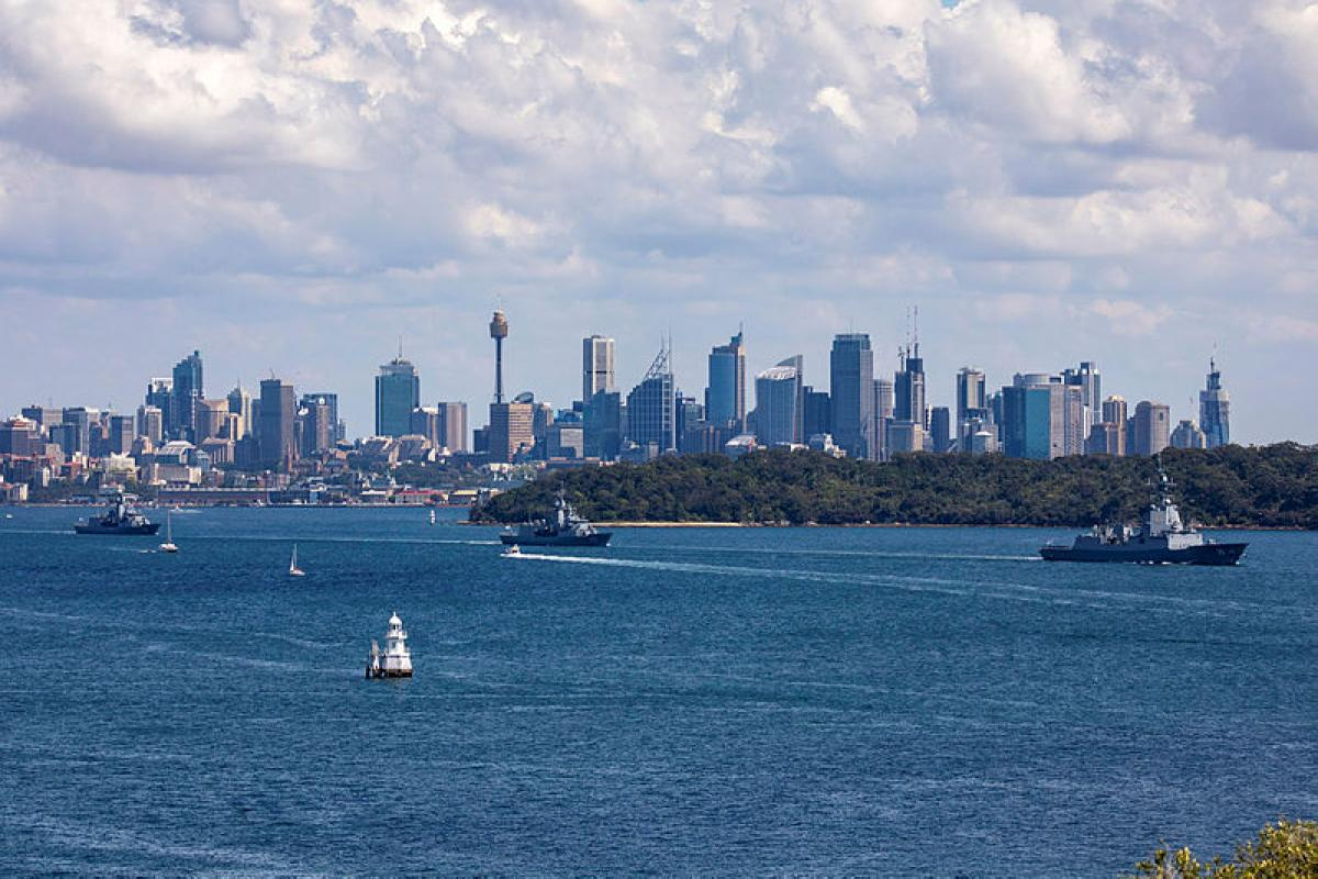 From right to left, HMA Ships Hobart, Stuart and Parramatta depart Sydney Harbour for the Navy's Maritime East Asia Deployment. Photo: Leadine Seaman Ronnie Baltoft