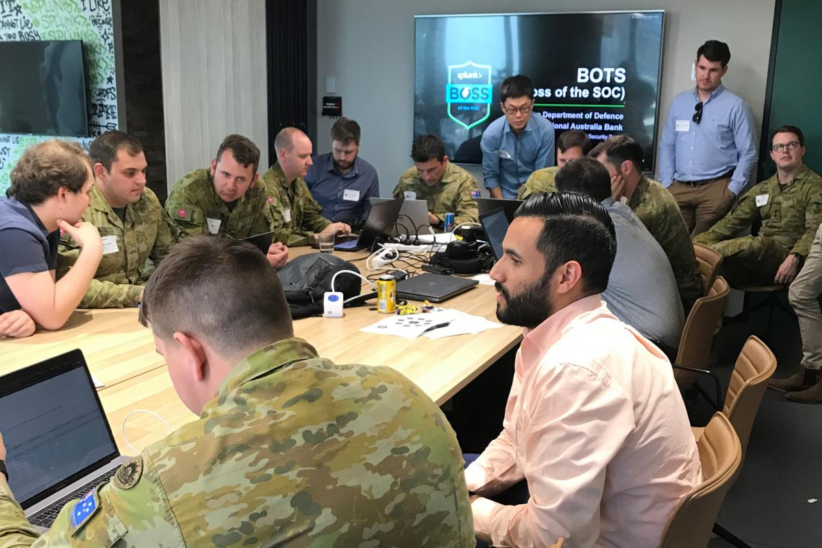 Army and National Australia Bank cyber-security experts knuckle down in a challenge to identify a simulated attack.