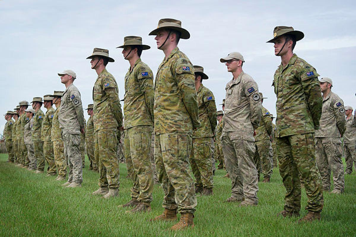 Australian and New Zealand Defence Force soldiers and officers of Task Group Taji - 10 during their farewell parade at Robertson Barracks. Photo: Corporal Shane Kelly