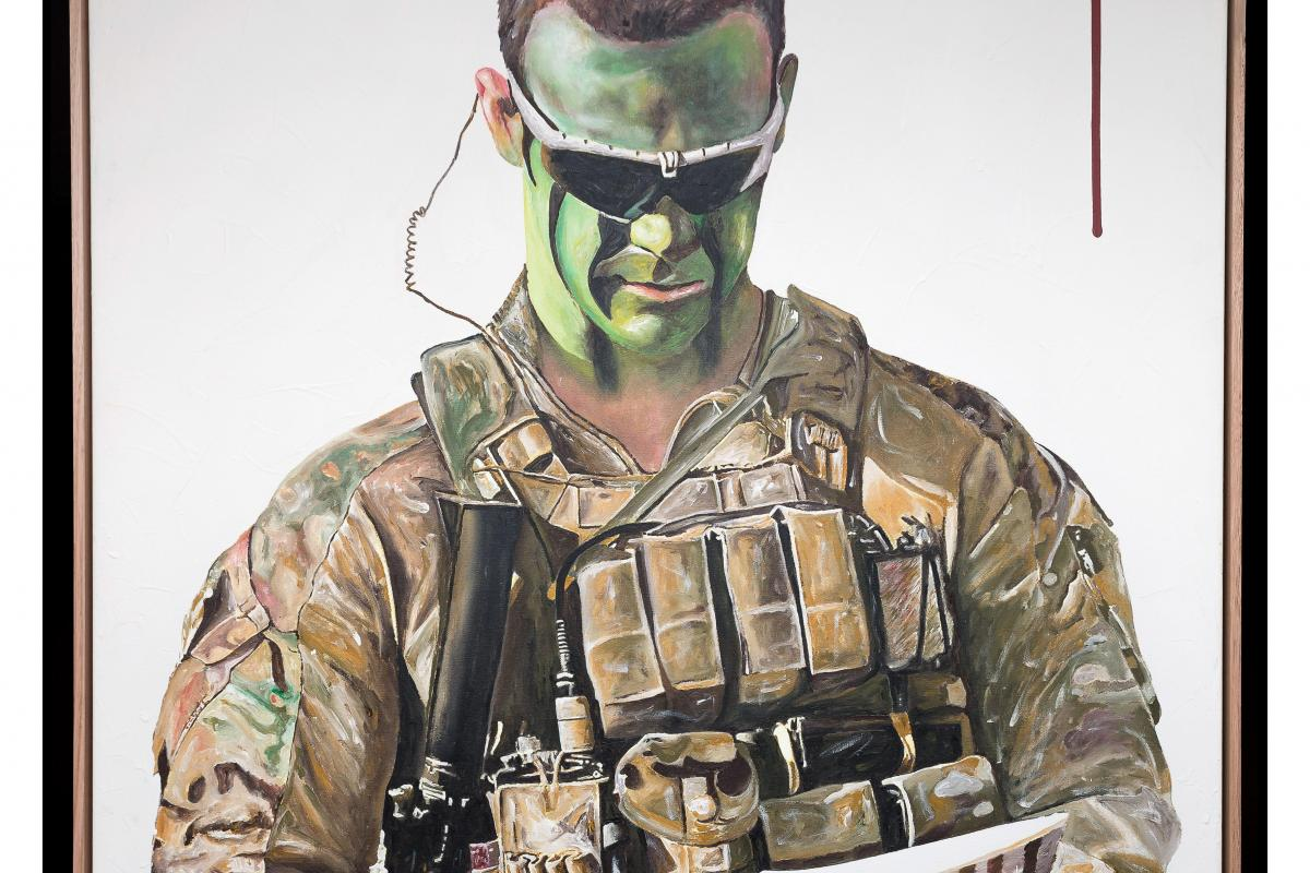 Detail of the painting of Corporal Cameron Baird, VC, MG, painted by artist George Petrou. Photo: Leading Seaman Craig Walton