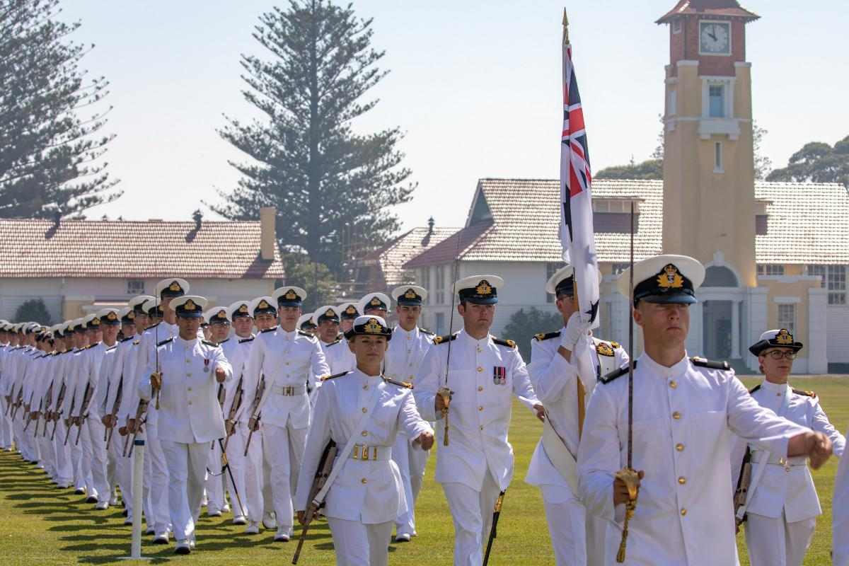 New Entry Officers Course 61 graduates march off the parade ground at HMAS Creswell during their Graduation Parade. Photo: Chief Petty Officer Cameron Martin