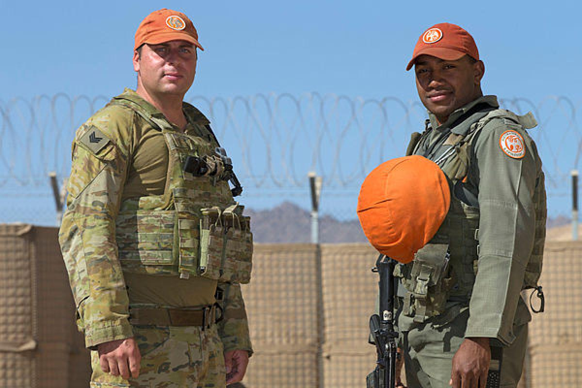 Australian Army soldier Sergeant Jared Convery and Republic of Fiji Military Forces soldier Private Waisale Naka at South Camp in the Sinai, Egypt. Photo: Sergeant Kirk Peacock