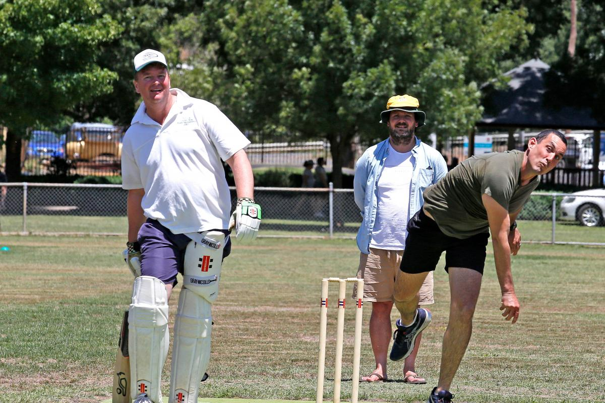 Sergeant Daniel Daleris, of the 2nd Combat Engineer Regiment, bowls during the Australia Day cricket match against the Tumbarumba and District Cricket Association team. Photo: Sergeant Dave Morley