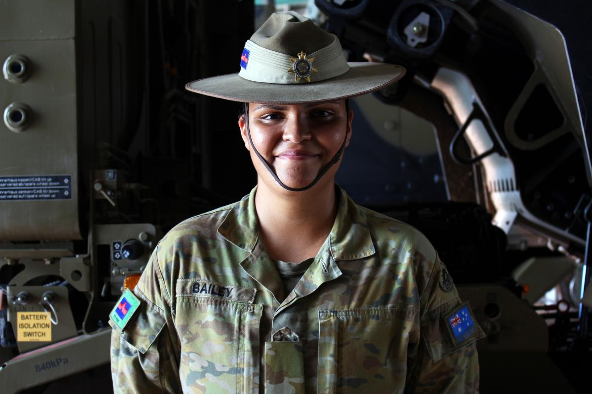 Private Grace Bailey says the slouch hat reminds her of those who have sacrificed so much for their country. Photo: Gunner Adel Hejji