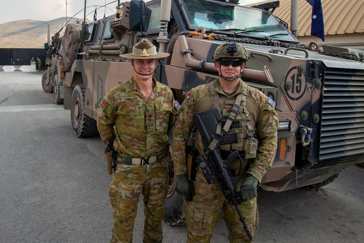 Lieutenant Colonel Lachlan Searle and Private James Dache at Camp Qargha in Kabul.