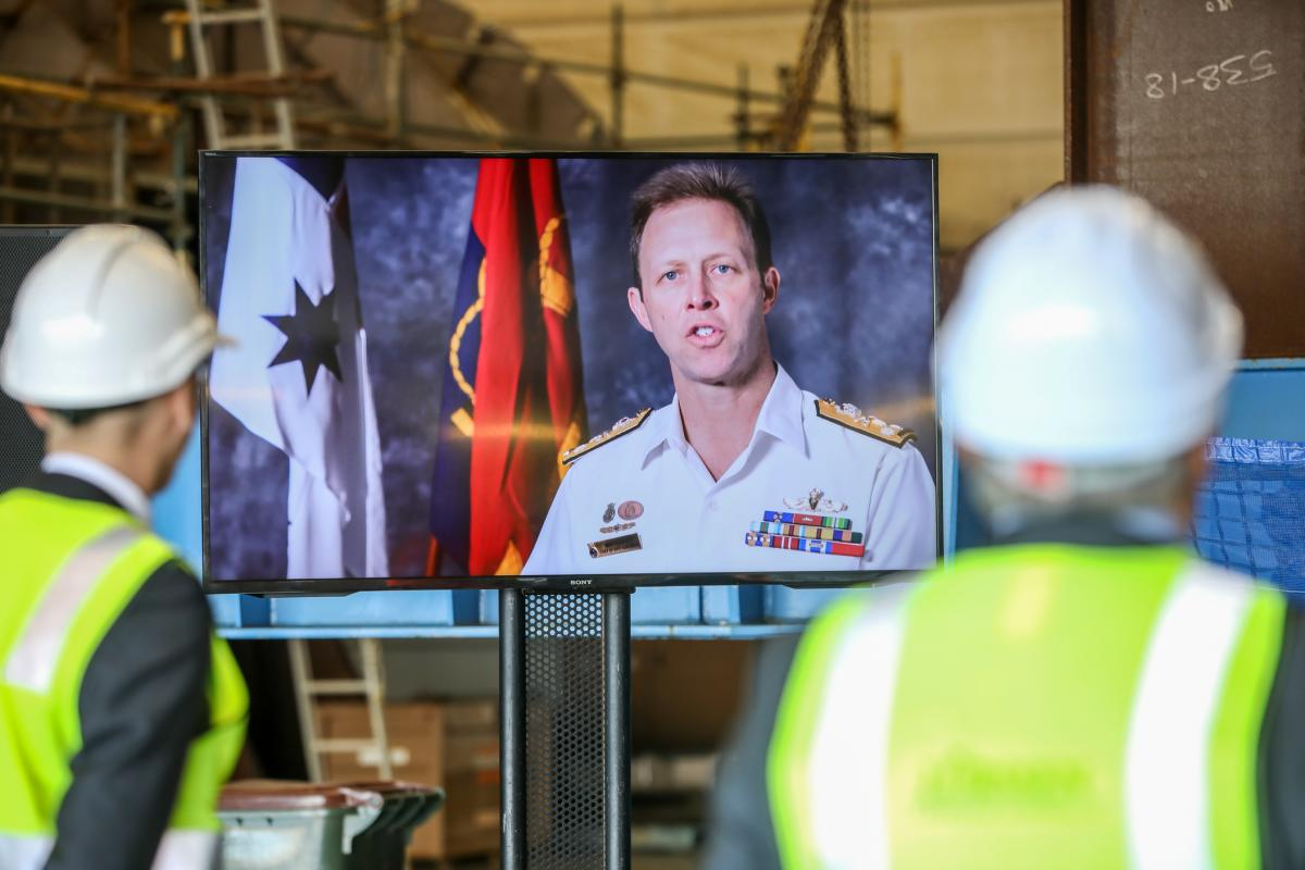 Chief of Navy Vice Admiral Mike Noonan gives his address via video link during the keel laying ceremony of offshore patrol vessel 2 Nuship Eyre. Photo: Russell Millard