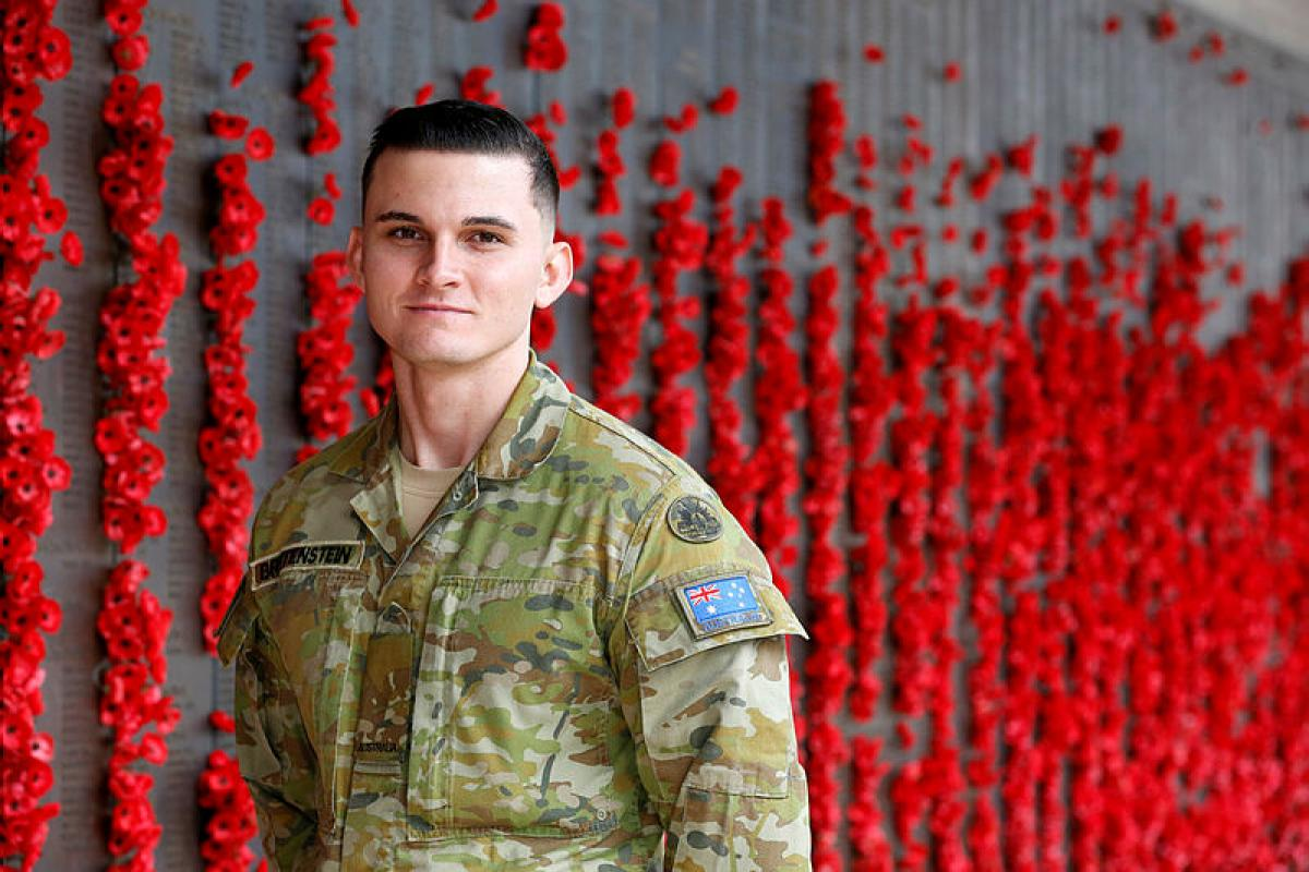 Gunner Kendall Breitenstein will take part in a commemorative Anzac Day service being held at the Australian War Memorial in Canberra. Photo: Corporal Veronica O'Hara