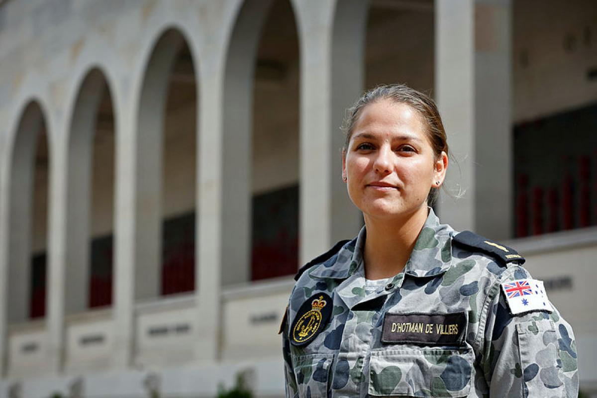 Royal Australian Navy Able Seaman Amy-Lee d'Hotman de Villiers will take part in a commemorative Anzac Day service being held at the Australian War Memorial in Canberra. Photo: Corporal Veronica O'Hara