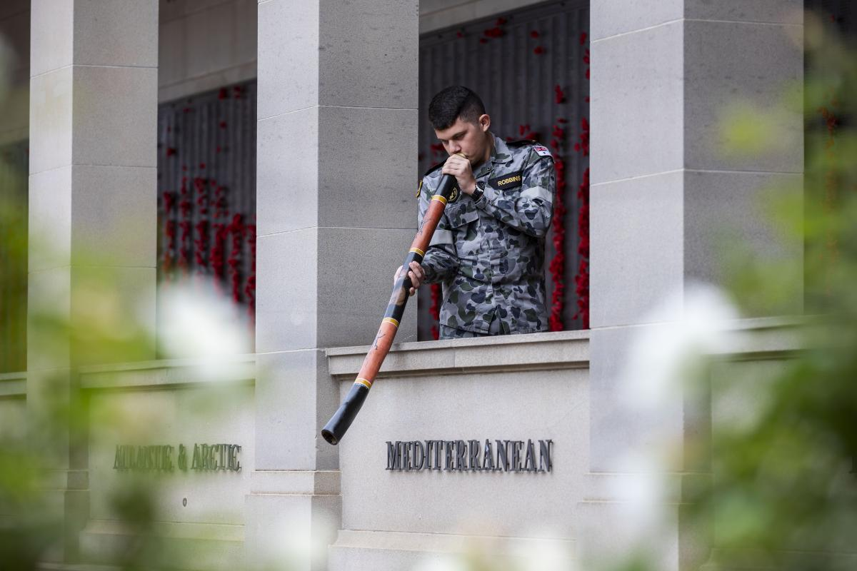 Seaman Lynton Robbins practises at the Australian War Memorial in the lead-up to Anzac Day. Photo: CPL Sebastian Beurich