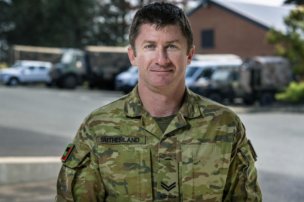 Corporal James Sutherland of 1/19 Royal New South Wales Regiment in Canberra during Operation COVID-19 Assist. Photo: Corporal Sagi Biderman