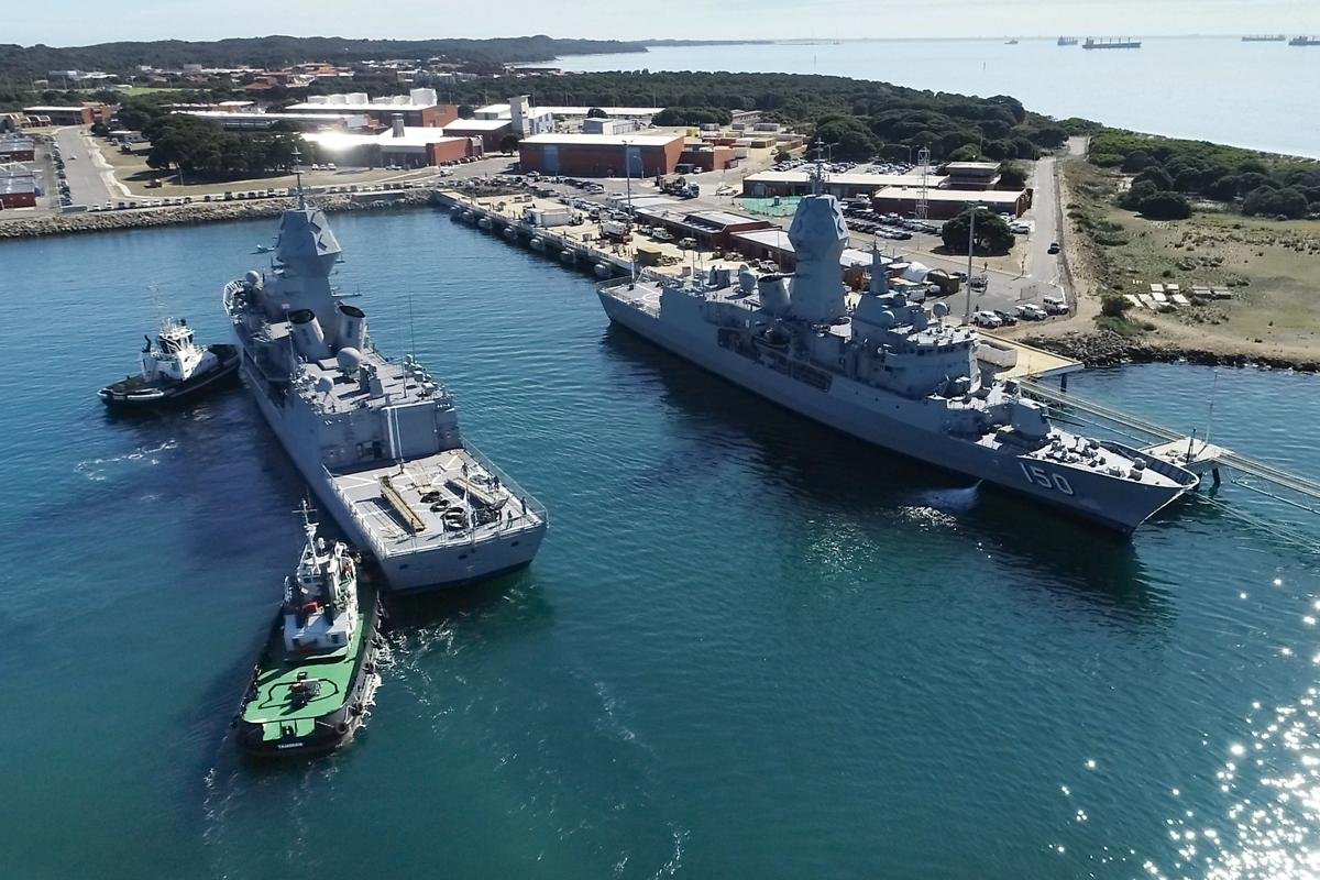 HMA ships Anzac, right, and Arunta have both undergone the sonar upgrade. The ships are seen here at Fleet Base West, Rockingham, Western Australia. Photo: Petty Officer James Whittle