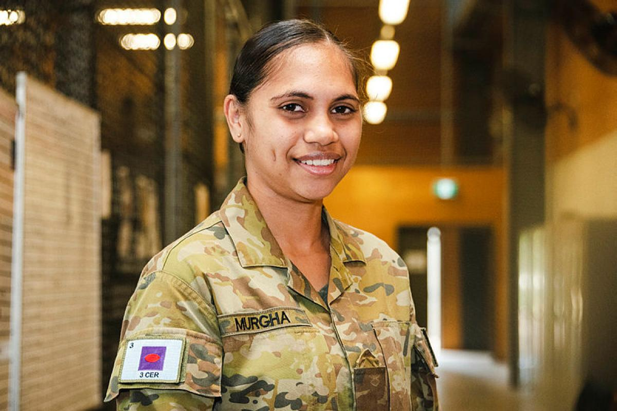 Private Shanika Murgha, of 3rd Combat Engineer Regiment, reflects on her culture during National Reconciliation Week at Lavarack Barracks, Townsville. Photo: Private Madhur Chitnis