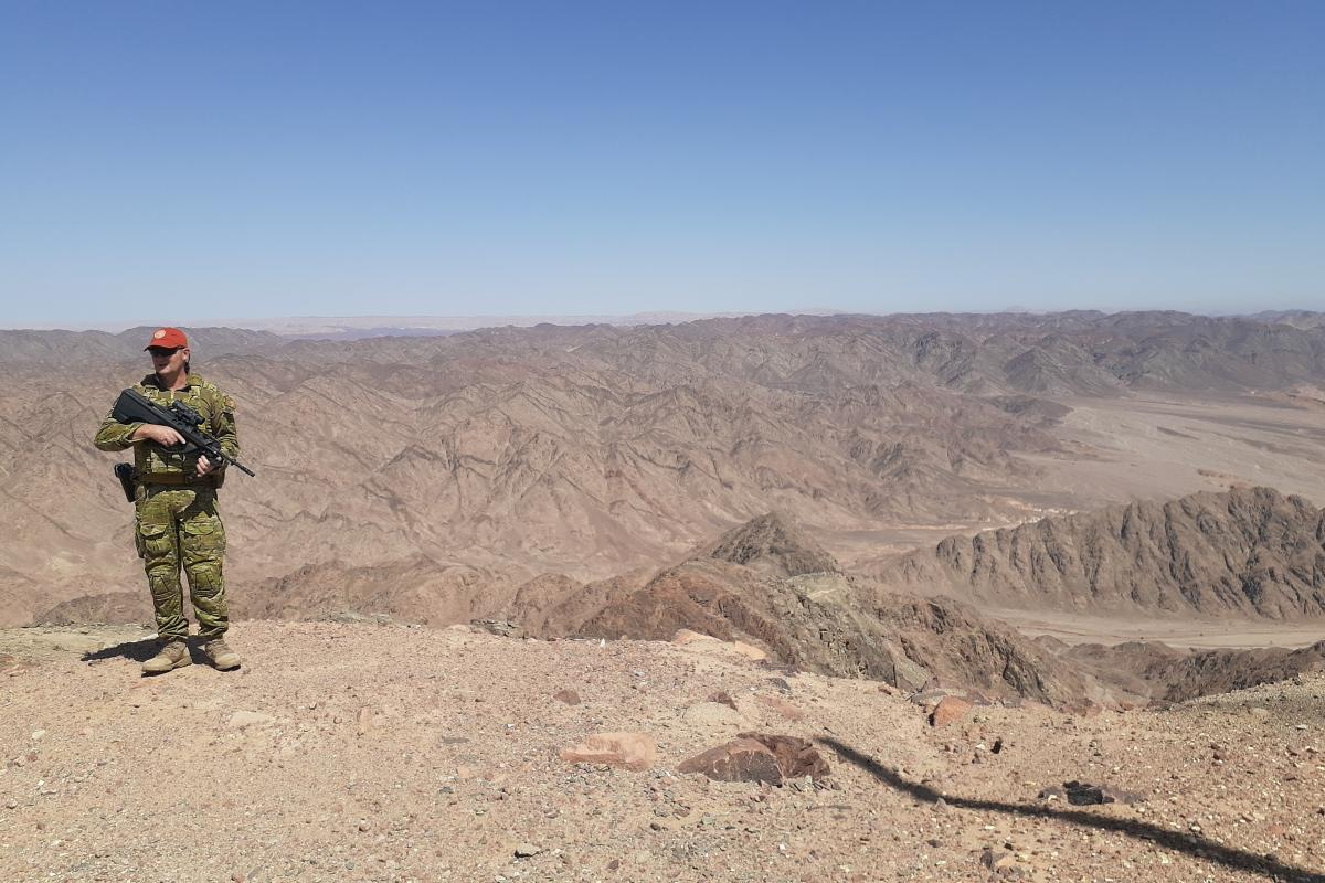 Sergeant Darrell Byron while deployed on Operation Mazurka Sinai as part of the Multinational Force and Observers.