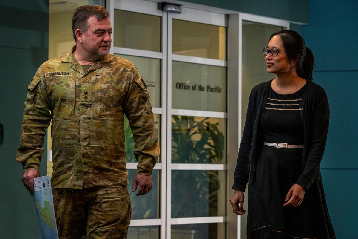 Lieutenant Colonel David Charlton of 4th/3rd Battalion, Royal New South Wales Regiment, and Ms Sandra Tam from the Department of Foreign Affairs and Trade. Photo: Corporal Sagi Biderman