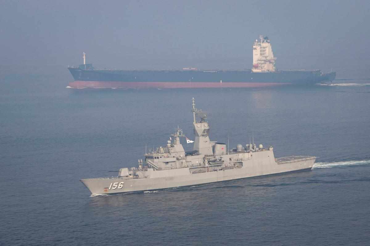HMAS Toowoomba in the Southern Arabian Gulf in support of the International Maritime Security Construct on Operation Manitou. Photo: Leading Seaman Richard Cordell