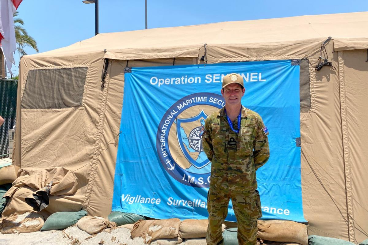 Lieutenant Commander Benjamin Peck is embedded within the International Maritime Security Construct, Bahrain, as part of Combined Task Force Sentinel on Operation Manitou.