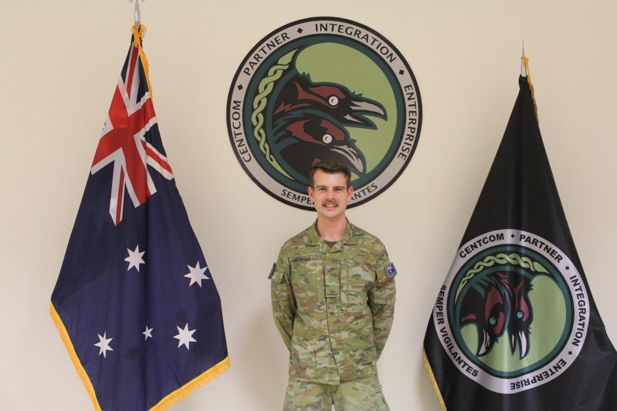 Private Cooper Leopold is embedded with the US Central Command Partner Integration Enterprise in the Middle East.