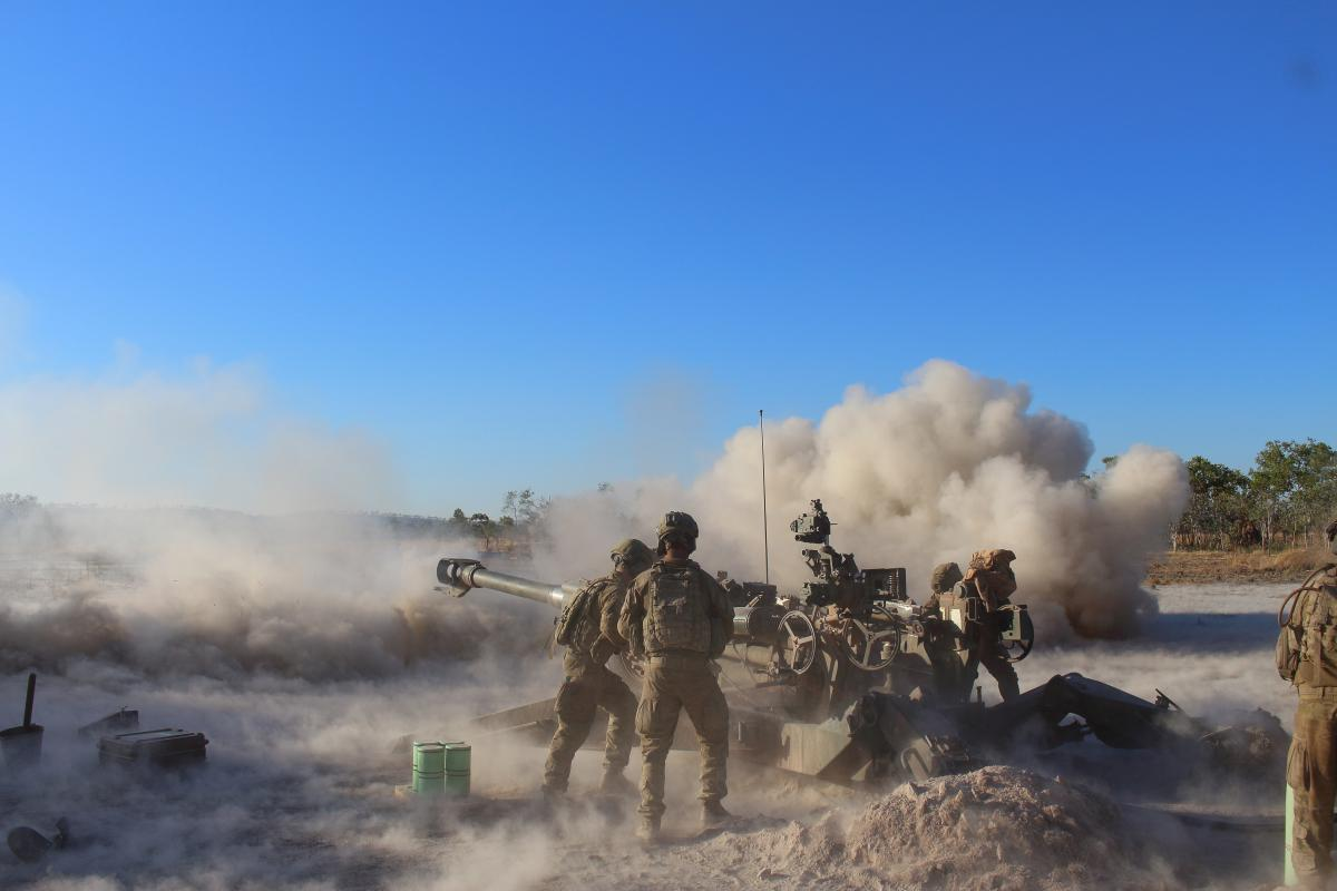 Members of a gun detachment from the 101st Battery direct fire an M777 lightweight towed howitzer during Exercise Ready Hammer at Mount Bundey Training Area, Northern Territory. Photo: Gunner Adel Hejji