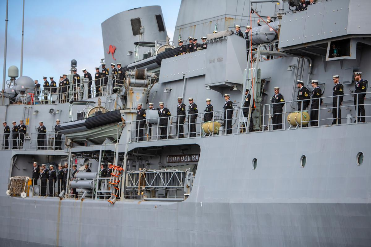 HMAS Toowoomba returns to Fleet Base West after a six-month Operation Manitou deployment in the Middle East region. Photo: Leading Seaman Ronnie Baltoft