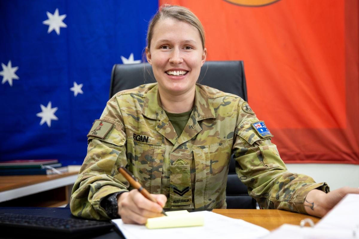 Command support clerk Corporal Clare Egan assists at Australia's main operating base in the Middle East. Photo: Petty Officer Yuri Ramsey