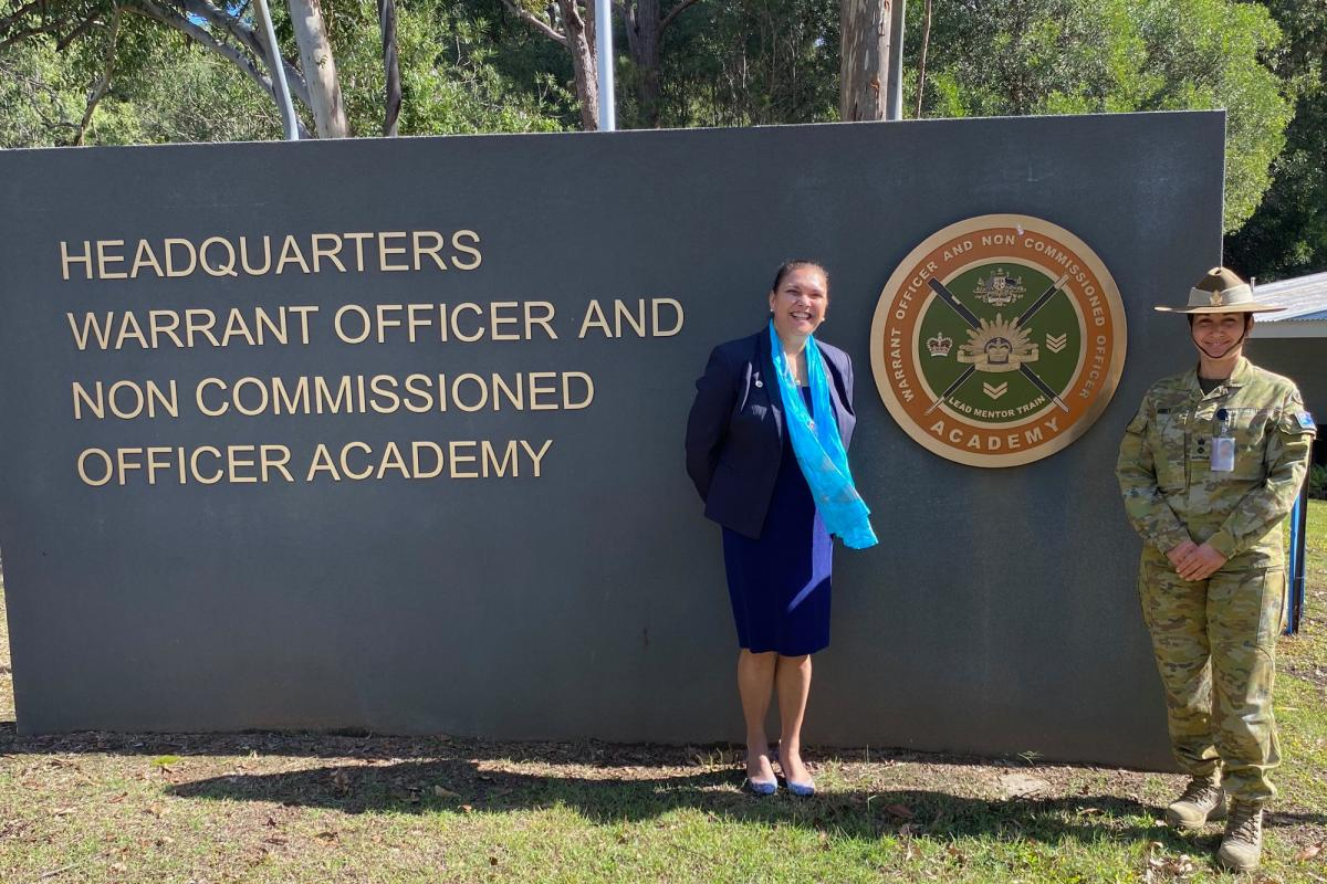 Indigenous Elder Aunty Lorraine joins Commanding Officer of the Warrant Officer and Non-Commissioned Officer Academy Lieutenant Colonel Dianne Grey at Kokoda Barracks in Queensland.
