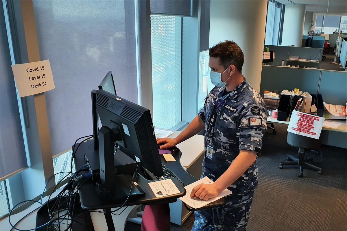 Air Force musician Flight Sergeant Adam Schlemitz was a shift supervisor with the informatics team at the Department of Health and Human Services during Operation COVID-19 Assist.