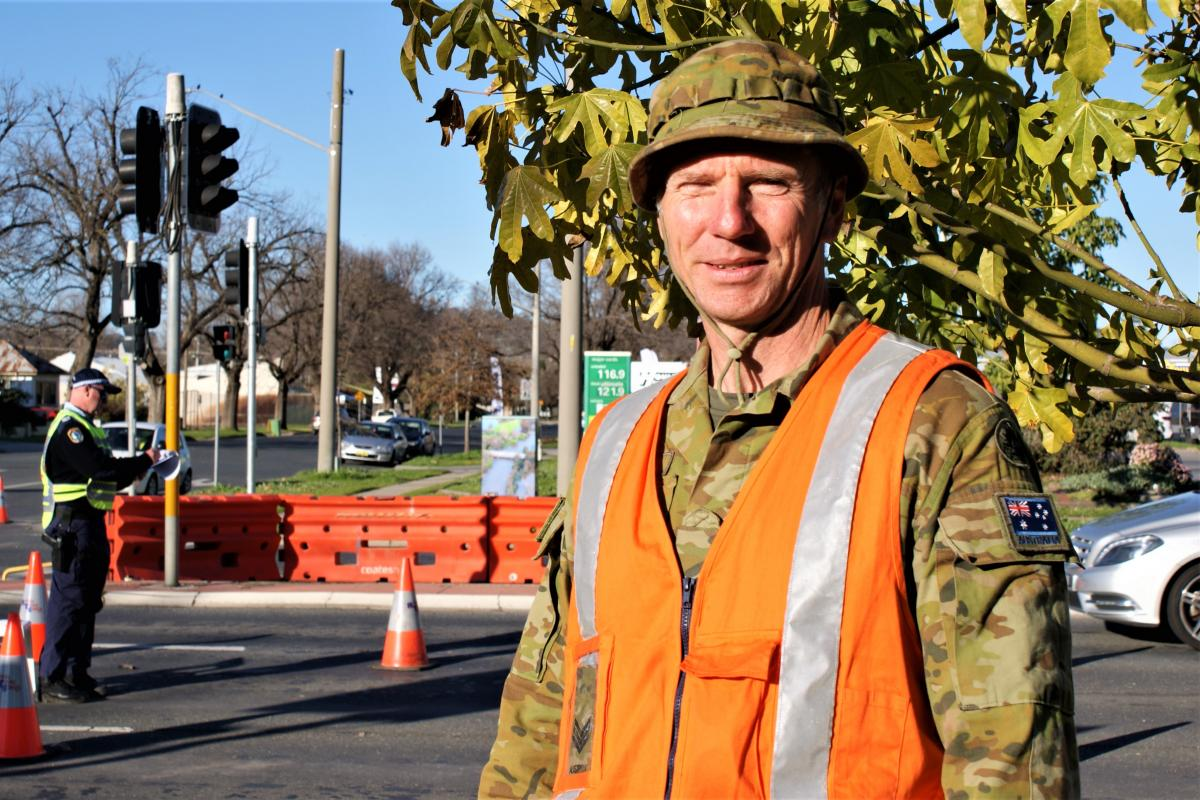 Sergeant Roger Derrick is the watch leader for ADF personnel supporting NSW Police at the Albury Wodonga Causeway checkpoint on the NSW Border.