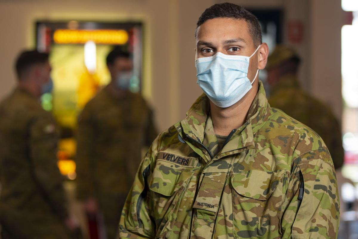 Trooper Keegan Veivers, from the 2nd/14th Light Horse Regiment, at the Colac Otway Performing Arts and Cultural Centre in Victoria, during Operation COVID-19 Assist. Photo: Private Dustin Anderson