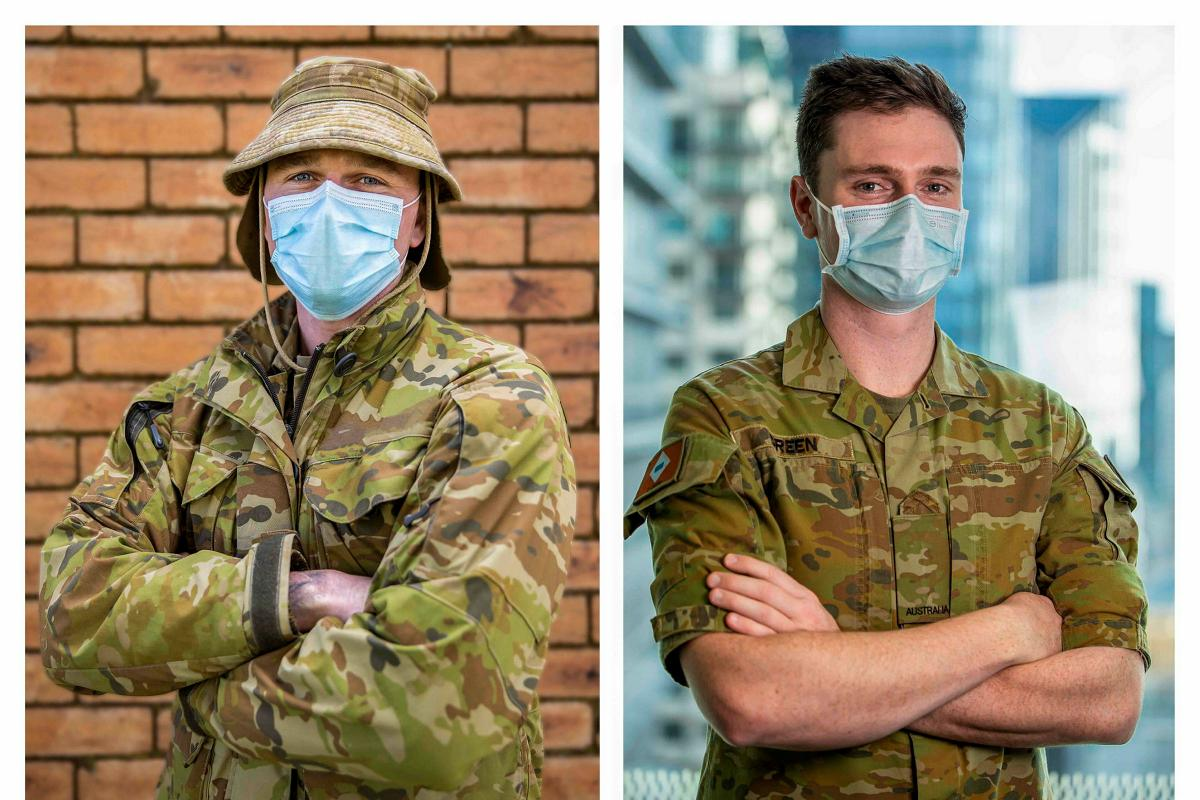 Brothers from Army's 7th Brigade, Trooper Rylan Green, left, and Private Brayden Green, right, are working in different parts of Victoria as part of Operation COVID-19 Assist. Image has been digitally compiled. Photo: Private Dustin Anderson