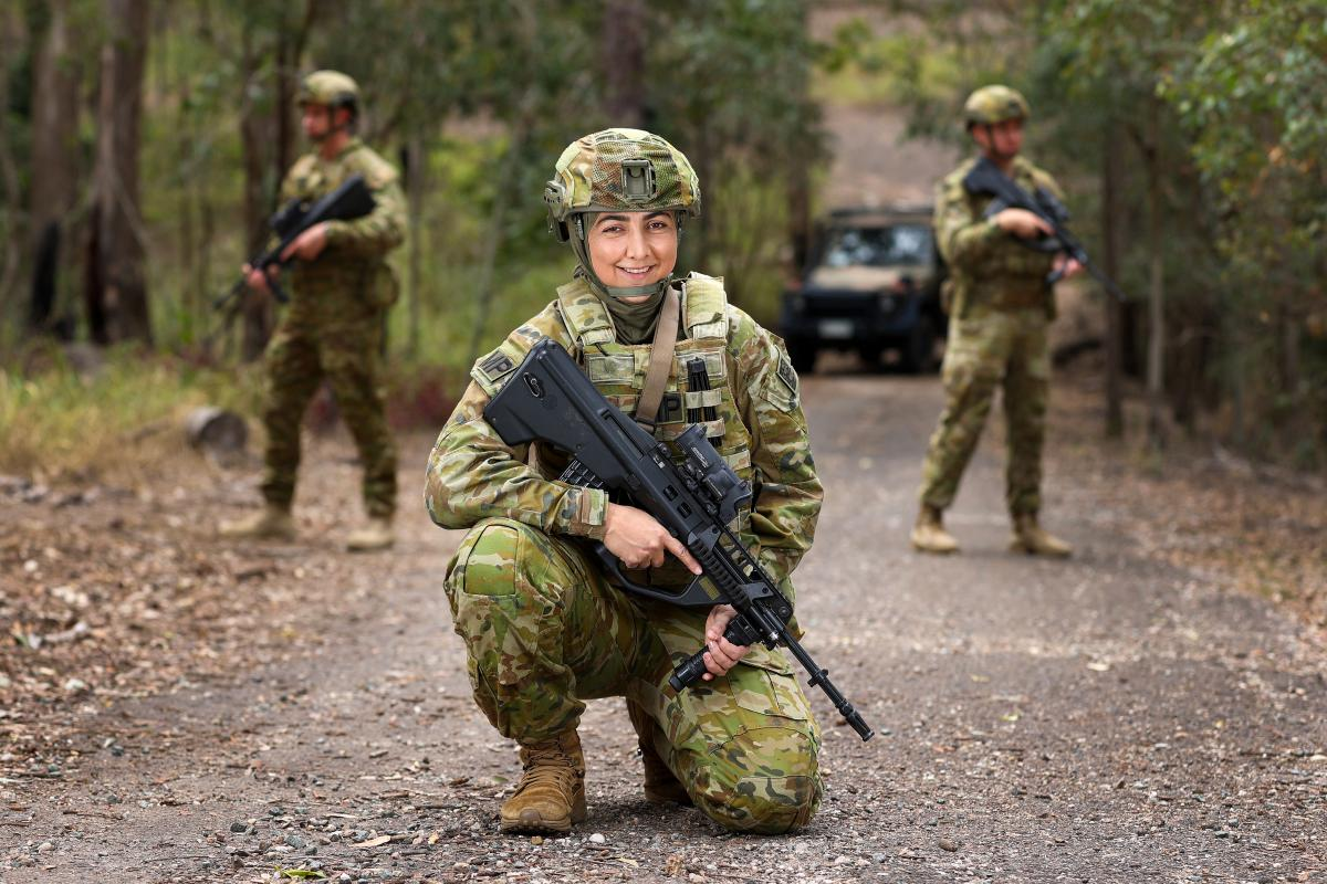 After leaving her home in Afghanistan as a teenager, Private Hassiba Sahar is a military policewoman serving with the 1st Military Police Battalion at Gallipoli Barracks in Enoggera, Queensland. Photo: Corporal Nicole Dorrett