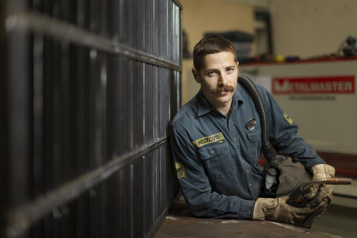 Lance Corporal Jordan Westcott is a metalsmith deployed on Operation Accordion. Photo: Corporal Tristan Kennedy