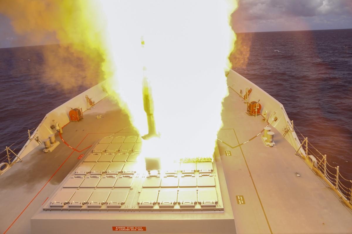 An SM-2 missile is launched from HMAS Hobart off the coast of Hawaii during Exercise Rim of the Pacific. Photo: Leading Seaman Ernesto Sanchez