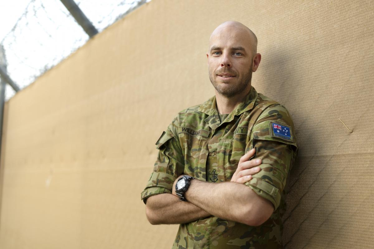 Leading Seaman Daniel Williams, at the ADF's main operating base in the Middle East. Photo: Corporal Tristan Kennedy
