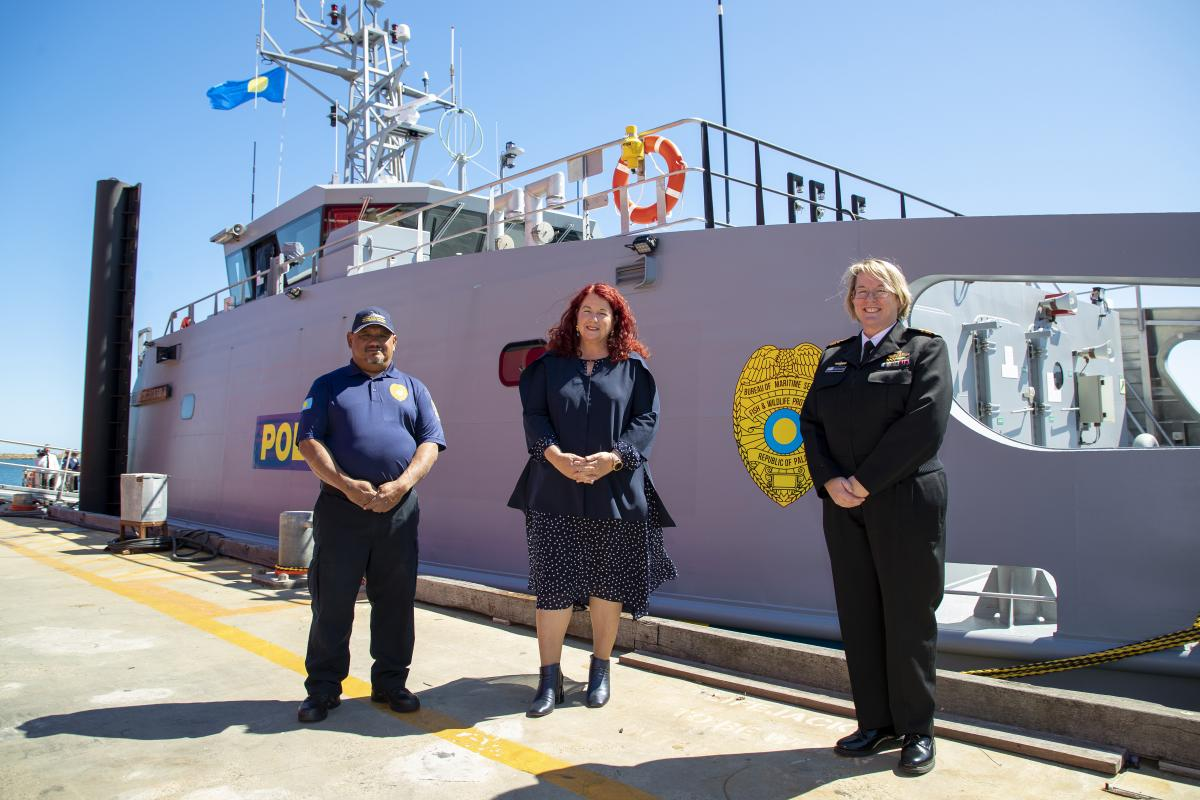 Commanding Officer PSS President HI Remeliik II, Lieutenant Commander Emerson Nobuo, Minister for Defence Industry Melissa Price and Head of Maritime Systems Rear Admiral Wendy Malcolm with the Guardian-class Patrol Vessel. Photo: Richard Cordell