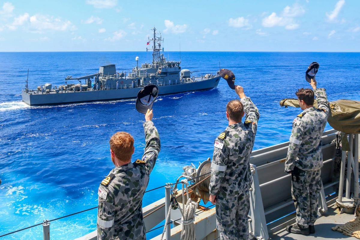 The crew of HMAS Stuart farewell BRP Apolinario Mabini at the conclusion of a passage exercise during a Regional Presence Deployment. Photo: Lieutenant Phillipe Fairs