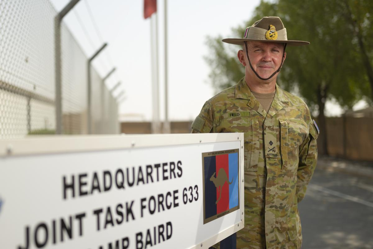 Major General Christopher Field at the ADF's Camp Baird in the Middle East. Photo: Corporal Tristan Kennedy