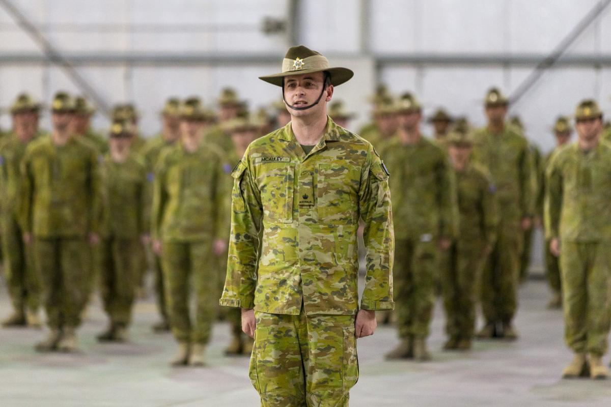 Officer Commanding Force Support Element 13 Major Peter McAuley during the transition-of-authority parade. Photo: Corporal Tristan Kennedy